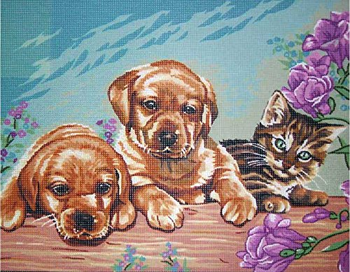 TWO PUPPIES & A TABBY KITTEN NEEDLEPOINT CANVAS FROM ROYAL PARIS #142.109, 19 1/2