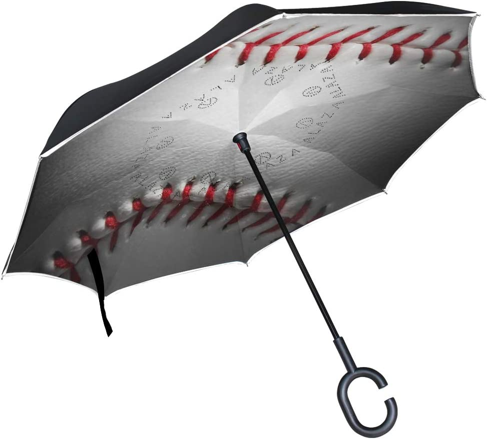 Double Layer Inverted Umbrellas with Cool Geometric Lineman Football Print C-Shaped Handle Umbrella Windproof Reverse Folding Umbrella for Car