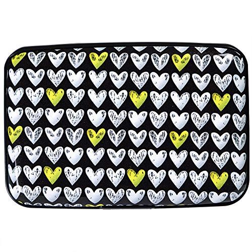 - Credit Card Holder Aluminum Wallet RFID Blocking Metal Slim Hard Case (White-Yellow Heart)