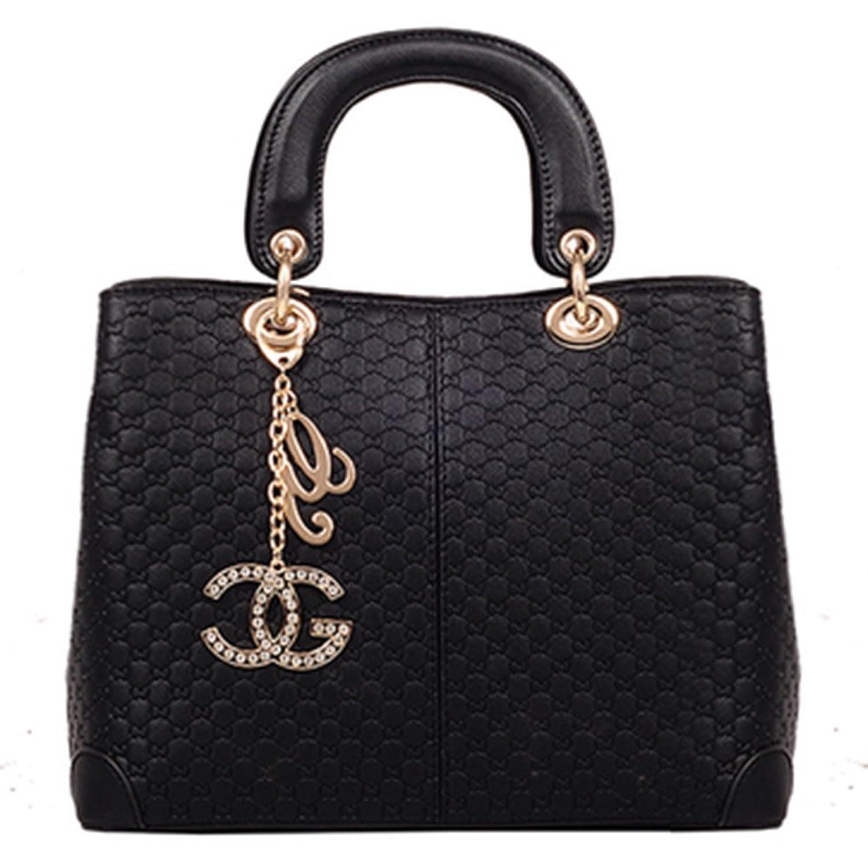 Shengxilu Women's Pu Leather Handbag Lady's Line Lattice Tote with Lock