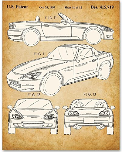 Honda S2000-11x14 Unframed Patent Print - Great Gift for Honda Fans and Car Enthusiasts