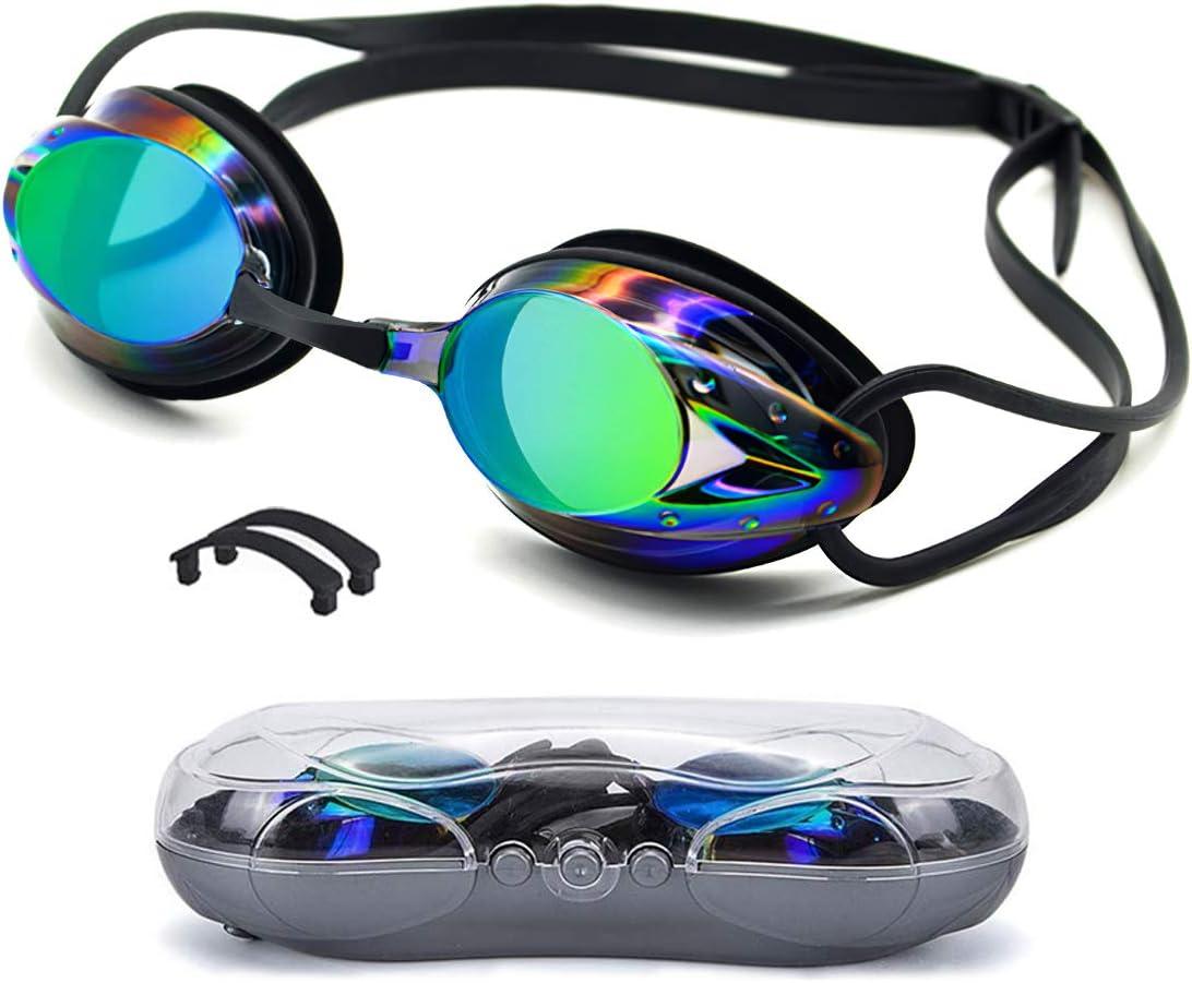 Aotlet - Gafas de natación para hombre y mujer, antivaho, con protección UV, sin fugas y correa ajustable para adultos, unisex y niños