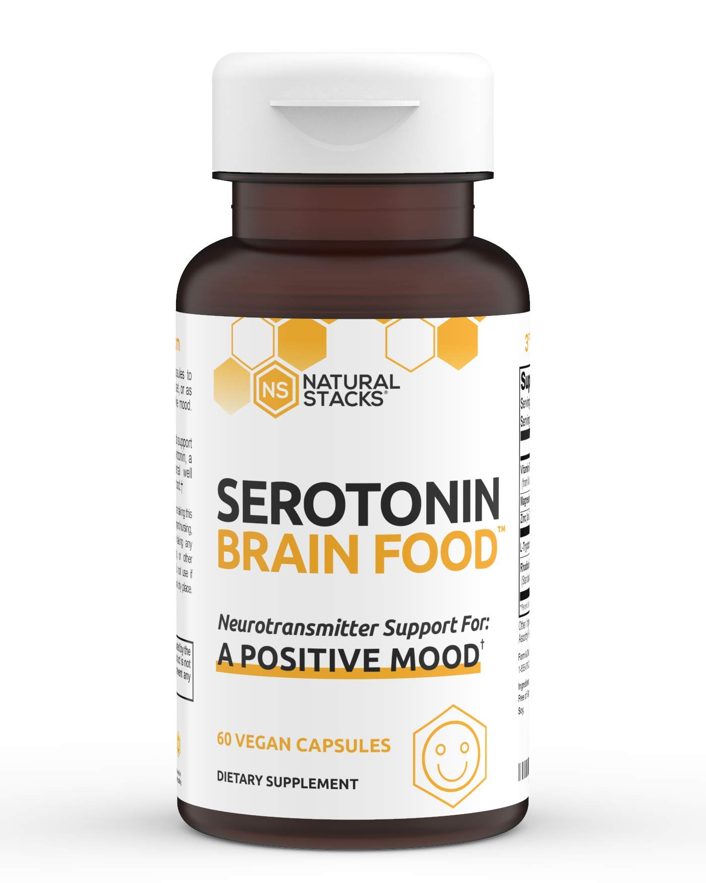 Natural Stacks Serotonin Supplement - Mood Boost and Brain Health Supplement with Rhodiola Rosea, L Tryptophan - Serotonin Production - Mood and Natural Energy Supplement (60ct)