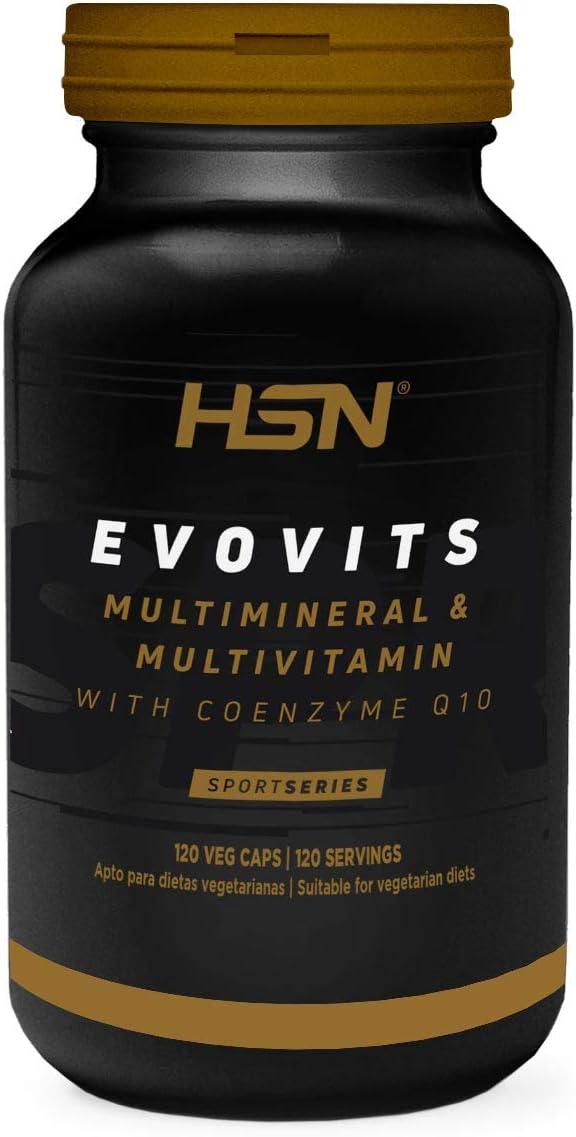 Evovits de HSN   Multivitaminas y Minerales   Complejo Multivitamínico para Mujer, Hombre, Vegetarianos y Deportistas, Sin Gluten, Sin Lactosa, 120 Cápsulas Vegetales