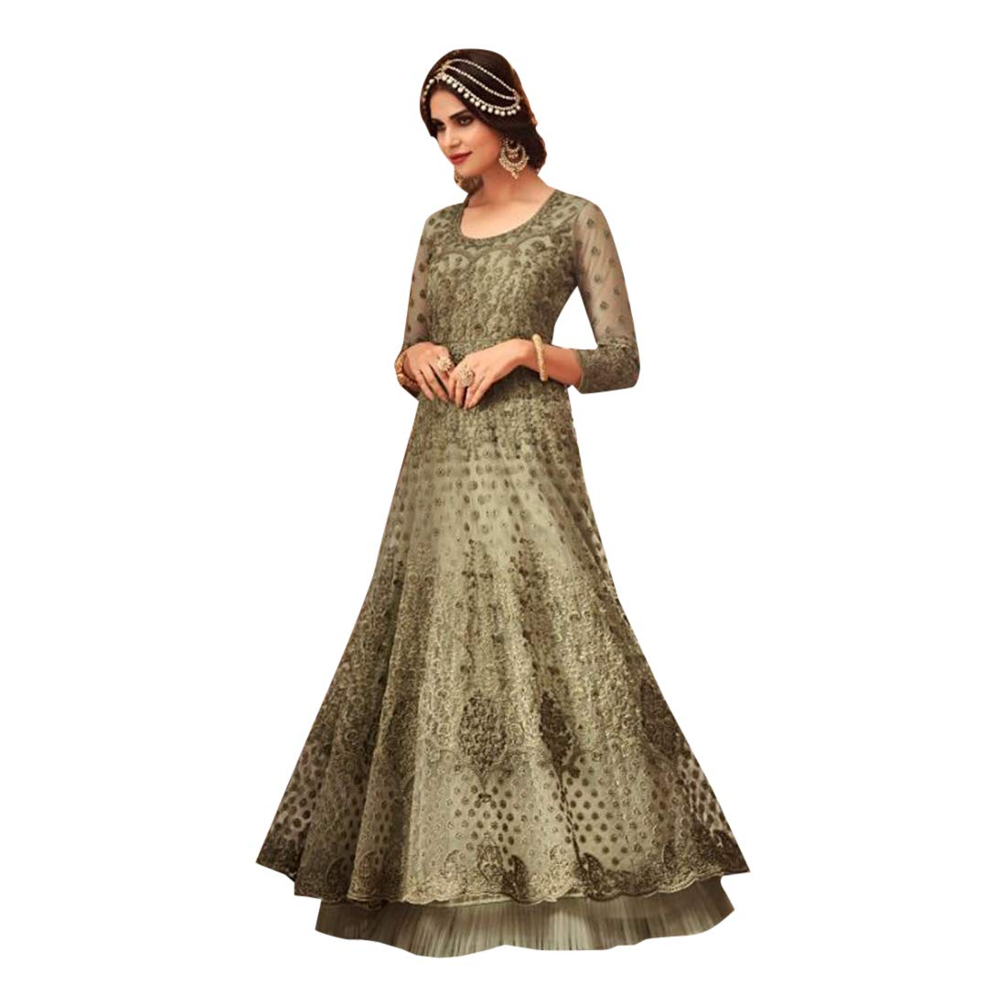 Cocktail wear Designer Abaya style Net Embroidered Anarkali Salwar Suit Muslim Ethnic dress 7753