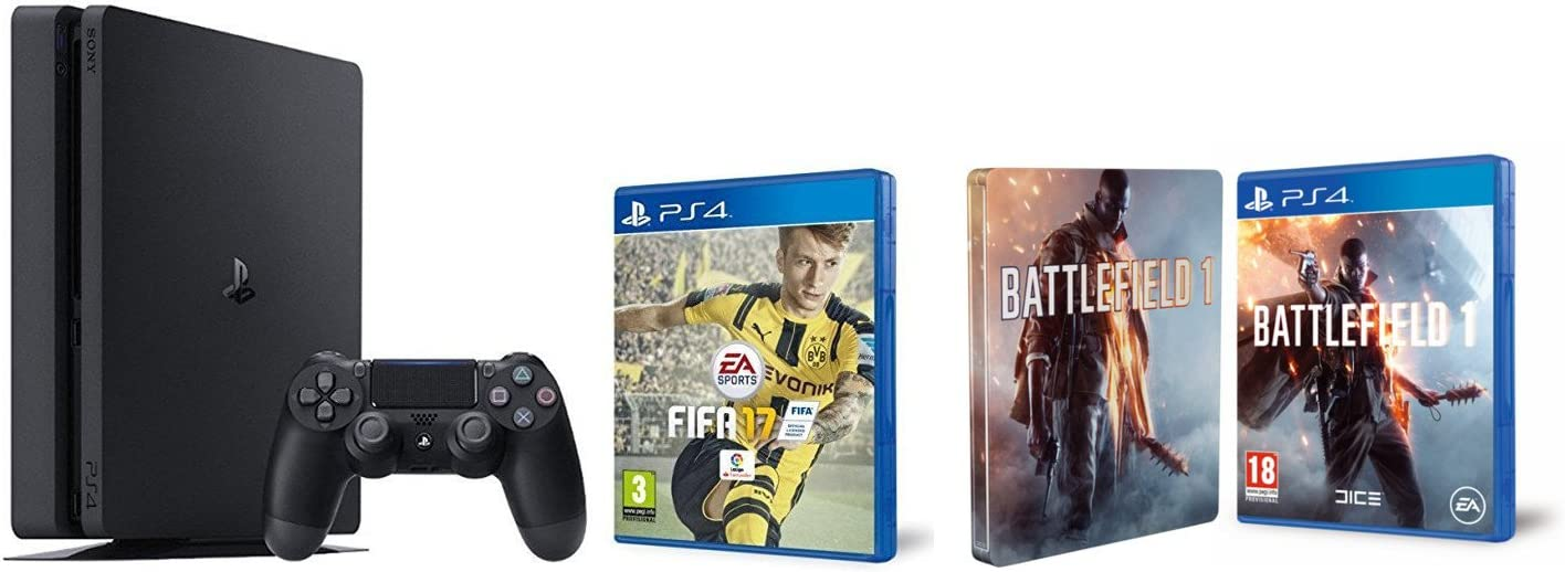 PlayStation 4 Slim (PS4) 1TB - Consola + FIFA 17 + Battlefield 1 + Steelbook (Exclusivo en Amazon): Amazon.es: Videojuegos