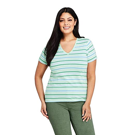 74fa827c485d Lands' End Women's Plus Size Stripe Relaxed Short Sleeve Supima Cotton V-Neck  T-Shirt at Amazon Women's Clothing store: