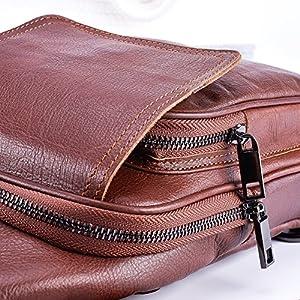 DelleVEGA Men's Sling Bag Genuine leather Chest Shoulder crossbody Bag Outdoor Fanny Pack Phone Holder For Travel Daypack Hiking School