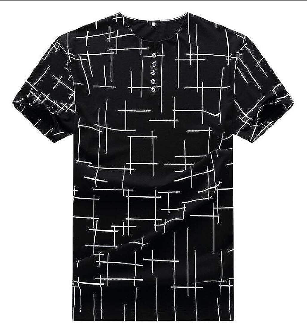 Etecredpow Mens Short Sleeve Summer Print Plus Size Crew Neck Striped T-Shirt Top