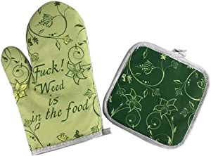 Angeloken Funny Oven Mitts and Pot Holders Set Oh, God! Weed is in The Food Heat Resistance Cotton Lining Kitchen Gloves Non-Slip for Cooking or Baking Grilling