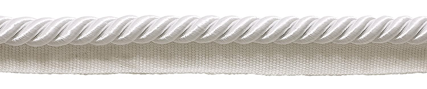 D/ÉCOPRO Large White 3//8 Basic Trim Cord with Lip 98 Feet // 30 Meters Package of 32.8 Yards Style# 0038S Color: A1
