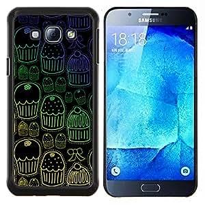 YiPhone /// Prima de resorte delgada de la cubierta del caso de Shell Armor - Magdalena del mollete Wallpaper dulces Patrón - Samsung Galaxy A8 A8000