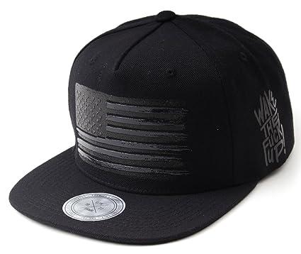 9bb0bcde33a Flipper Black American Flag Flat Bill Baseball Cap Snapback Hat for Men  Women