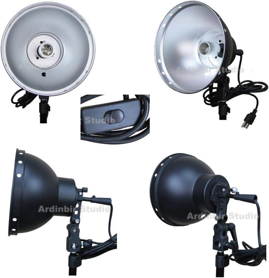 Ardinbir Studio Photography Head Lamp Continuous Lighting Bulb E27 AC Socket with 8 Light Reflector