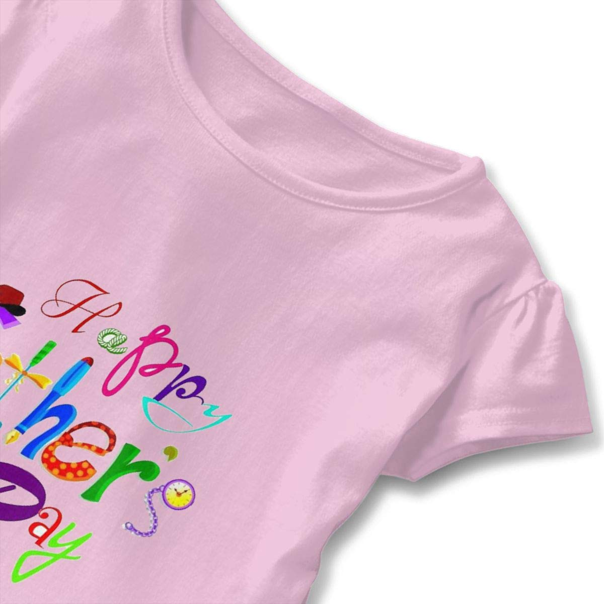 Colorful Happy Fathers Day Pink 2-6 T Toddler Baby Girls 100/% Cotton Short Sleeve T Shirt Top Blouse Tee Clothes