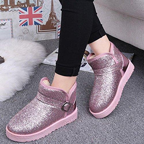 Slipper Flache Damenstiefel Mode Mode Gefüttert Booties Pailletten Schnee Pelz Damenstiefel Ankle Clode® Warm Pink Winter gxOFBB