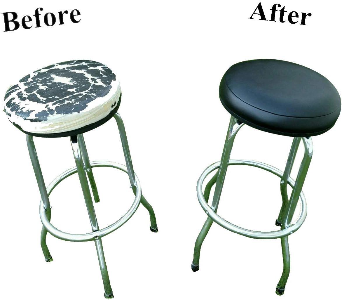 Leiste Stool Cover für Kitchen Pub Exam Office - Easy Slip auf - Vinyl Replacement Seat obere mit Extra Thin Padding & Elastic Band (12 Inch Diameter, Black)