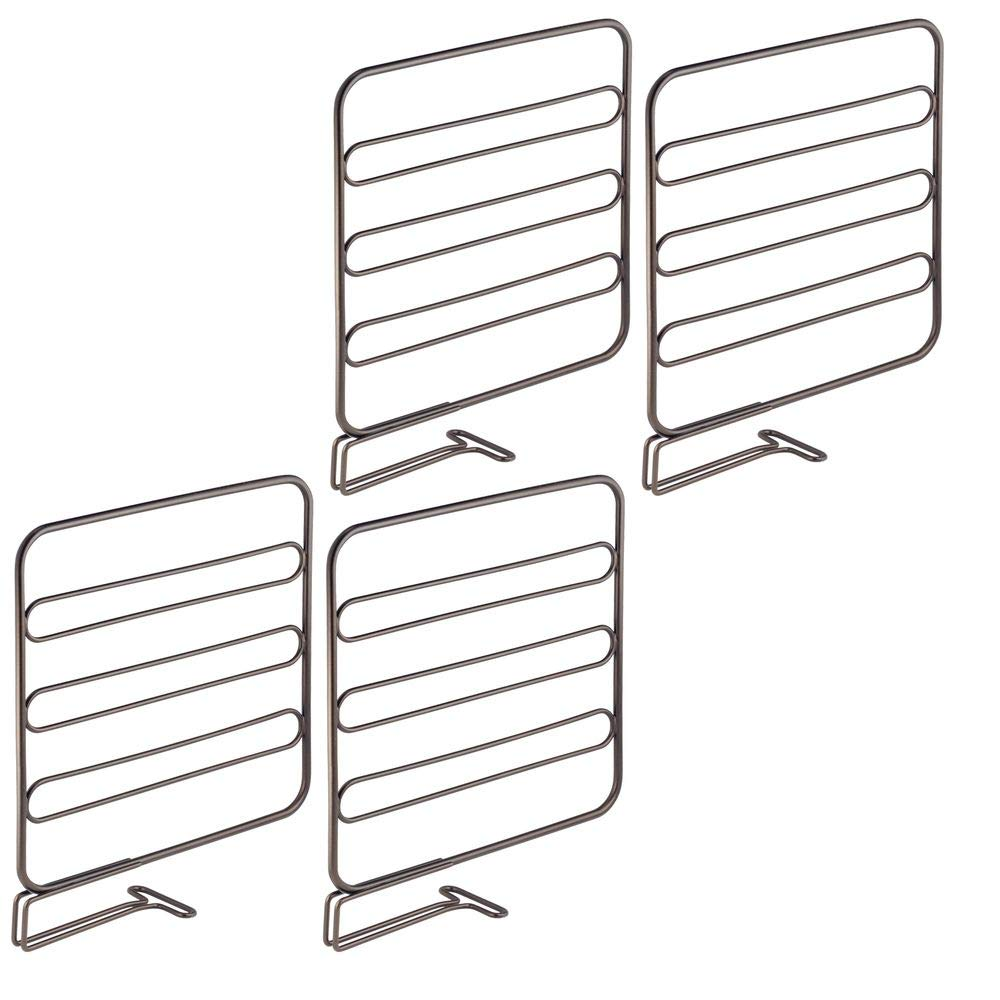 mDesign Versatile Metal Wire Closet Shelf Divider and Separator for Storage and Organization in Bedroom, Bathroom, Kitchen and Office Shelves - Easy Install - 4 Pack - Bronze