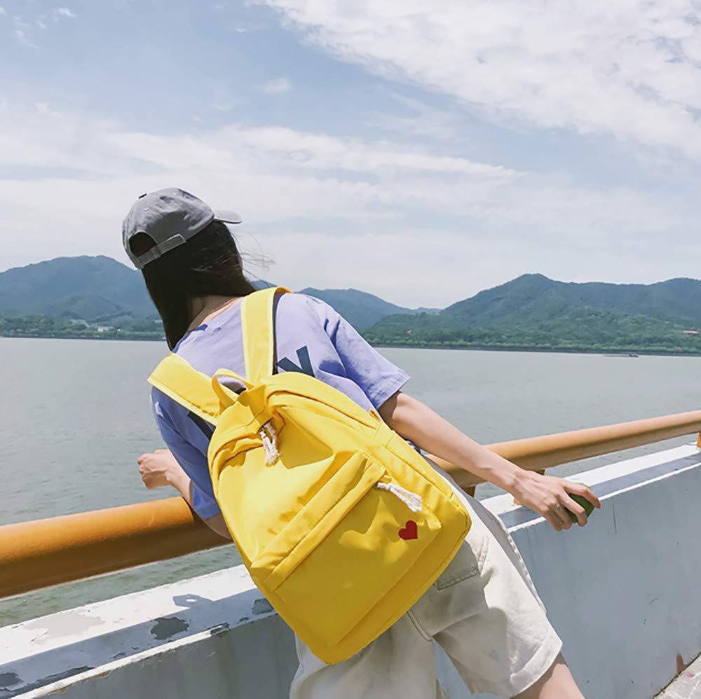 Cinhent Backpacks Korean Women Student Bag Embroidered Love Solid Color Canvas