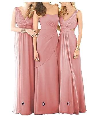 47ac8141bf5 Women Dusty Rose Wedding Bridesmaid Dresses One Shoulder Long Chiffon  Formal Dress 2018