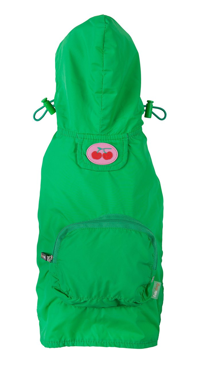 fabdog Packable Dog Raincoat Green (Large)