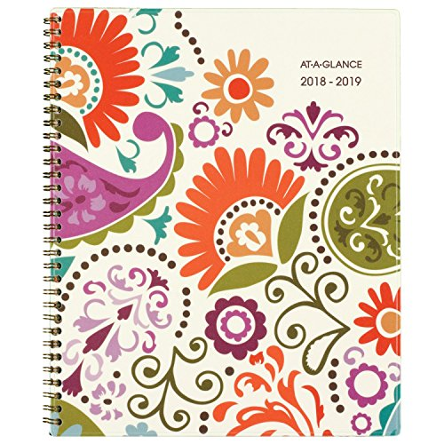 AT-A-GLANCE 2018-2019 Academic Year Weekly & Monthly Planner, Large, 8-1/2 x 11, Garden Party (150-905A)