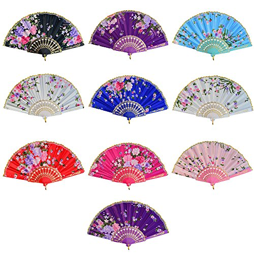 Miayon 10pcs Floral Folding Hand Fan Vintage Retro Silk Handheld Fans Lace Folding Fan Wedding Dancing Church Party Gifts (Random Color)