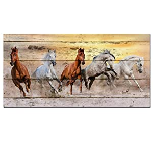 LevvArts - Large Horse Canvas Wall Art Wild Animal Picture Print on Canvas Galloping Running Horses on Vintage Wood Background Painting Rustic Country Style Home Decor Ready to Hang