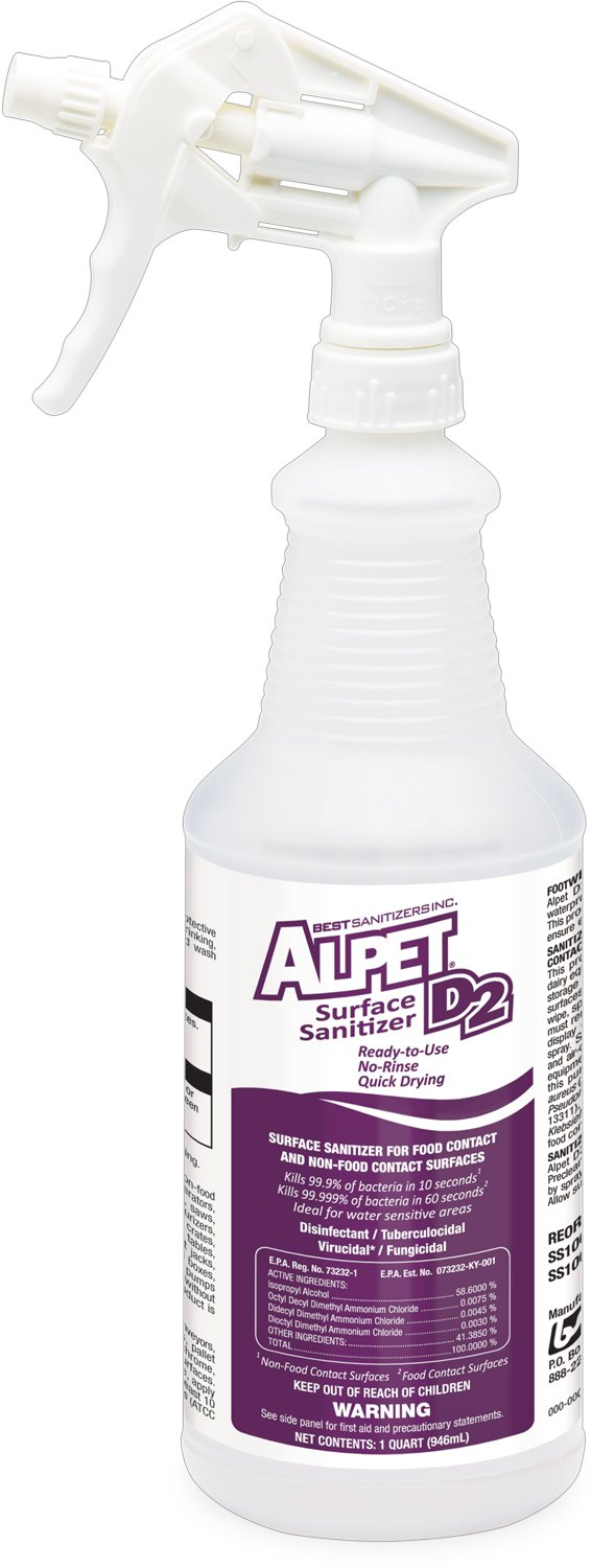 Best Sanitizers SS10003 Alpet D2 Surface Sanitizer, 1 Quart Trigger Spray Bottle (Case of 12) by Best Sanitizers Inc