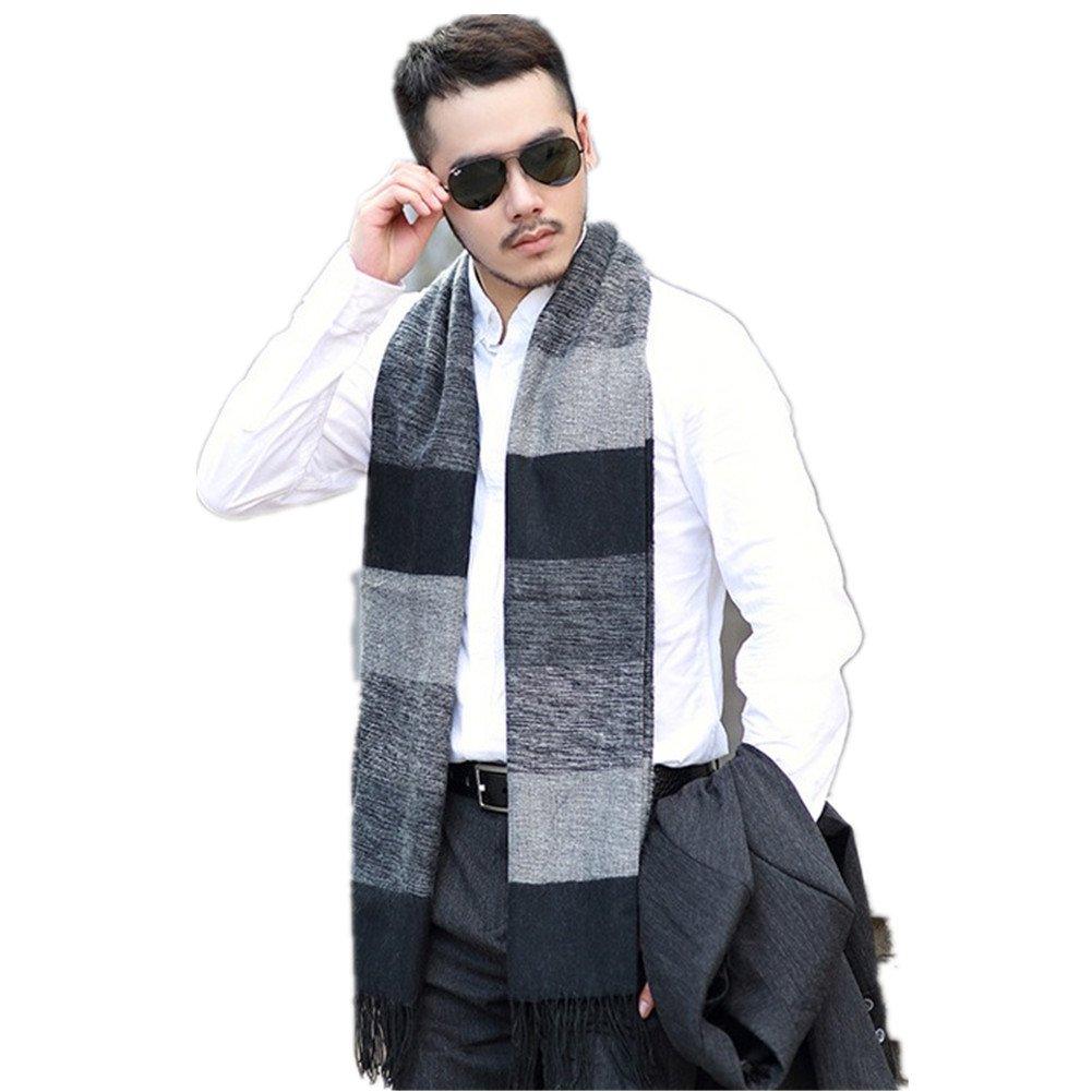 Kagogo Winter Cashmere Feel Men Scarf,100% Cotton Fashion Neck Warmer Wide Lightweight Long Scarves With Tassels (Black&Grey)