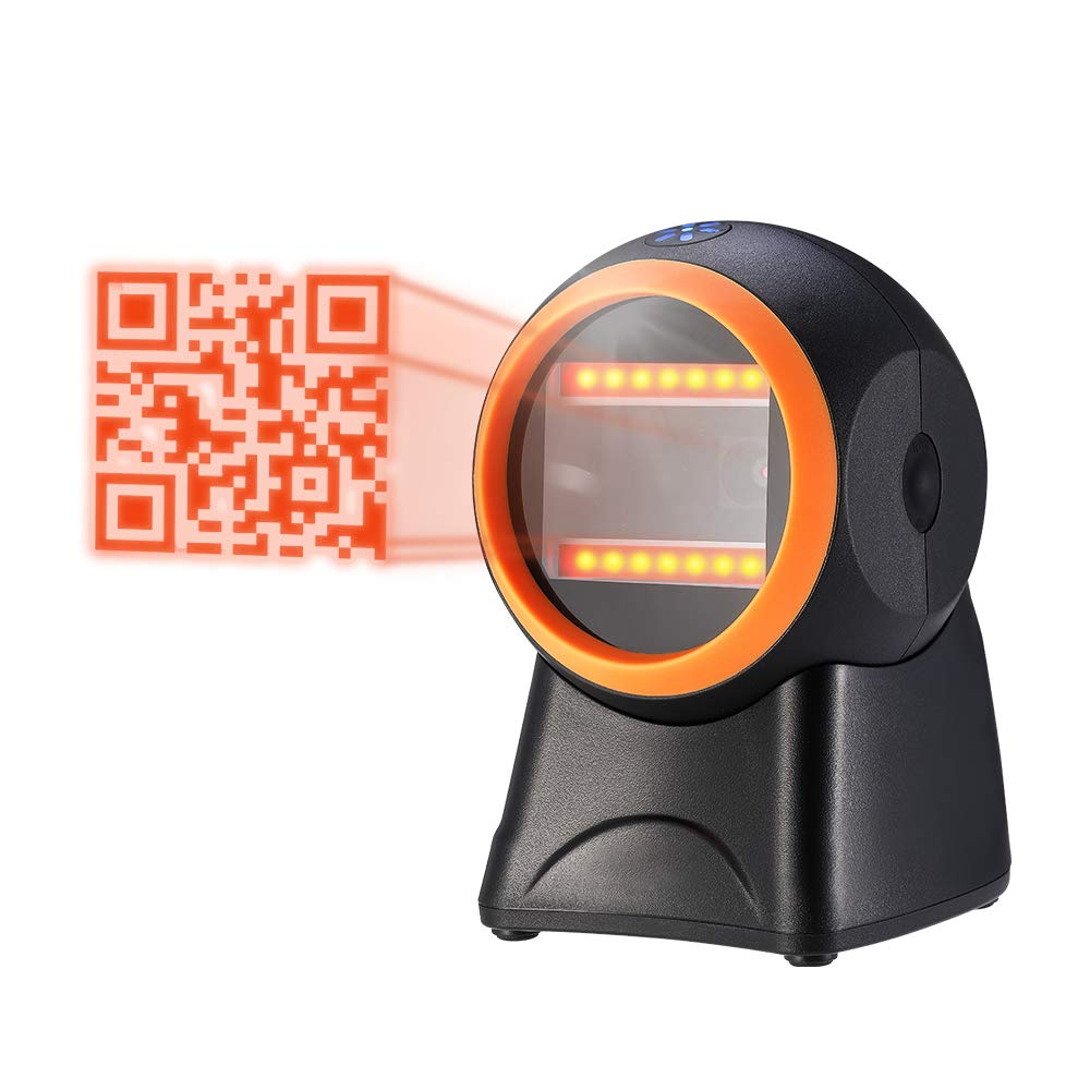 MUNBYN 2D Barcode Scanner,1D 2D QR Presentation USB Barcode Scanner Omnidirectional Hands-Free Wired Bar Code Reader for Mobile Payment Computer Screen Scan by MUNBYN