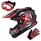 1Storm Adult Motocross Helmet BMX MX ATV Dirt Bike Helmet Racing Style Glossy Red; + Goggles + Skeleton Red Glove Bundle