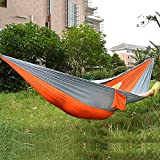 Double Camping Travel Portable Parachute Nylon Fabric Hammock Have you ever slept at a bed in outdoors? Facing to the sky, staring at the cloud, listening to the bird twittering around your ears, the sunshine just shedding on your face squeezing thro...