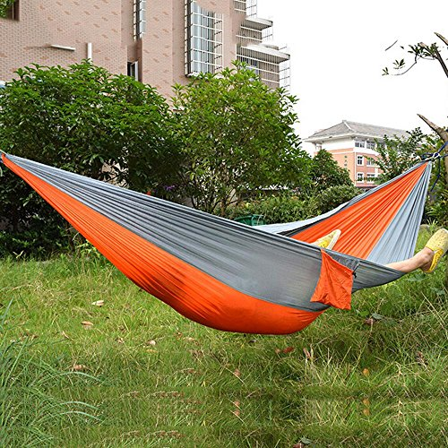 JHD Portable Parachute Nylon Fabric Travel Camping Hammock for Two Person (Big Size Orange And Gray) (Fixing Wicker Chairs)