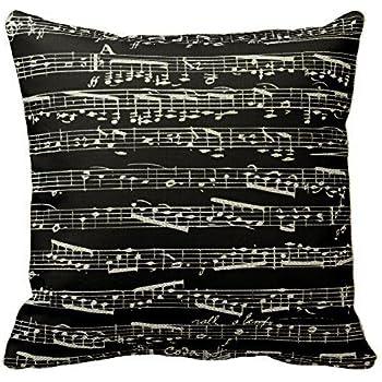 black and white music notes throw pillows custom throw pillow case cushion cover pillowcase square
