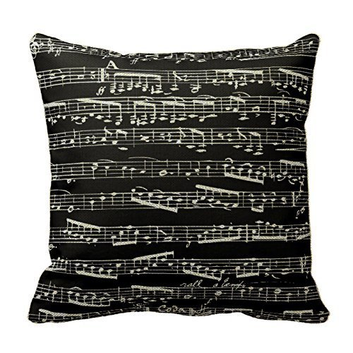 Custom Throw Pillow Cases : Black And White Music Notes Throw Pillows Custom Throw Pillow Case Personalized Cushion Cover ...