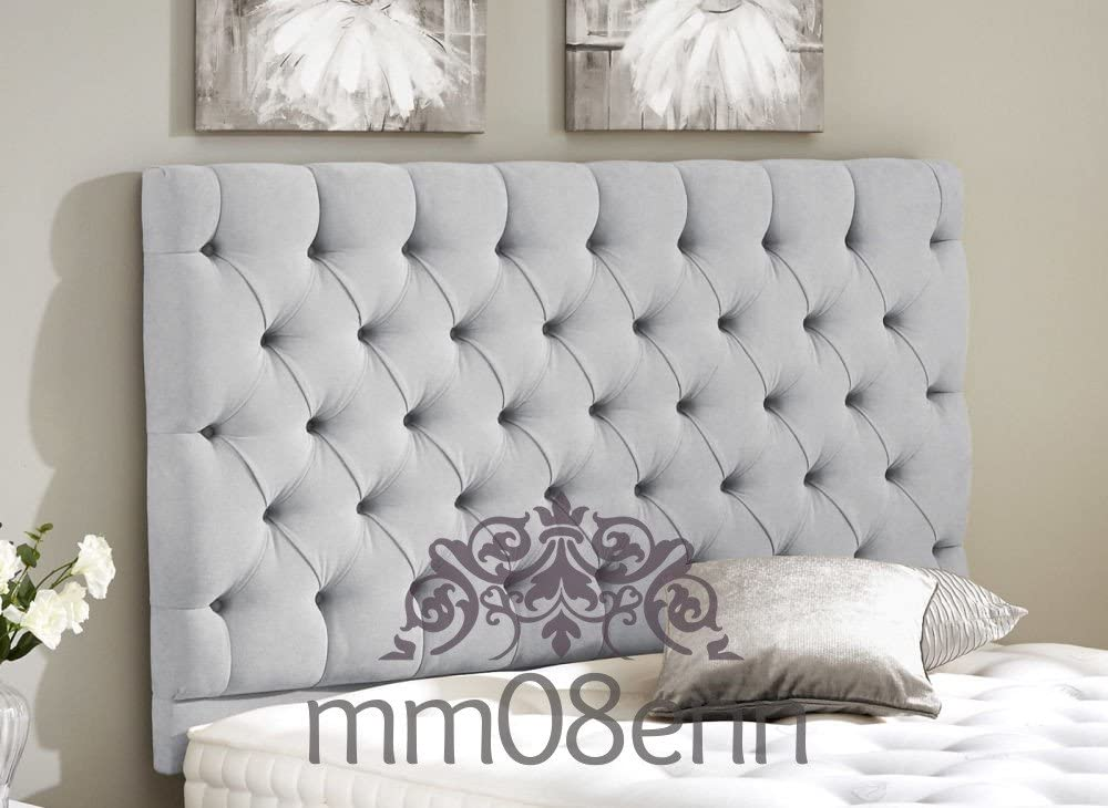 mm08enn Faux Leather Bedworth 24 Height Diamante Headboard 3ft,4ft,4ft6,5ft,6ft 6FT SUPER KING SIZE, SILVER
