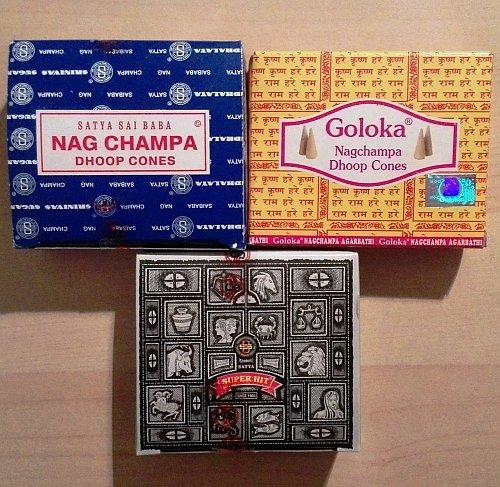 Nag Champa Incense Cones Set of 3 - Nag Champa, Superhit, Goloka Feeling Dreams