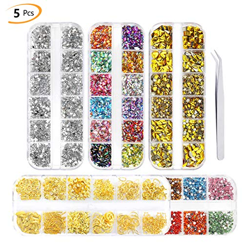 Phogry 4000Pcs (5 Boxes) Nail Art Rhinestone Kit Multi Design Accessories with Tweezers Colorful Horse Eye Rhinestones Metal Studs for Nail DIY Decoration