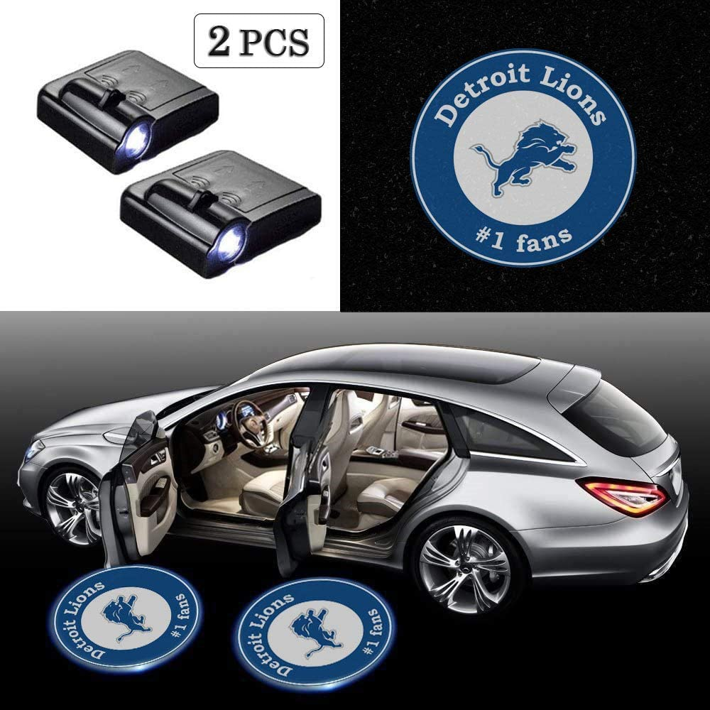 For Detroit Lions 2pcs Fit for NFL Detroit Lions Wireless Car Door Logo LED Projector Light,Rugby Team Logo Ghost Shadow Lights Lamp Fit for All Brands of Cars.