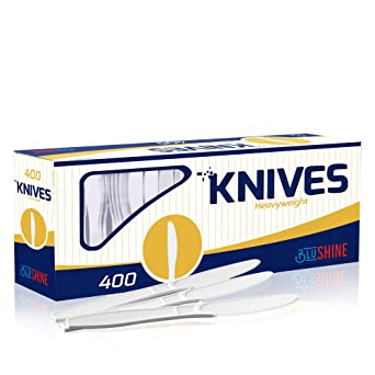 400 Pack Extra Heavyweight Disposable White Plastic Knives-Heavy Duty White Cutlery-Utensils, Parties, Dinners, Catering Services, Family Gatherings
