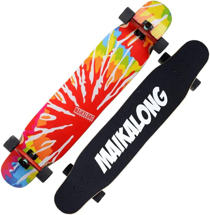 LINGLING-スケートボード ロングボードプロフェッショナルメープルスケートボード四輪スクーターダンスボード初心者大人子供向けブラシストリートトラベル Colorful