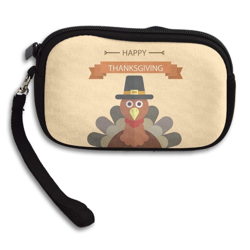 Jimres Fashion Women Lady Wristlet Bag Small Wallet With Zipper Girls Coin Purse Thanksgiving Turkey Printed Wallets Clutch Bag Handbag