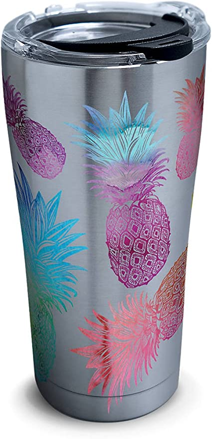 5a45ed2dd9c Amazon.com   Tervis 1261357 Watercolor Pineapples Stainless Steel Tumbler  with Clear and Black Hammer Lid 20oz, Silver: Tumblers & Water Glasses