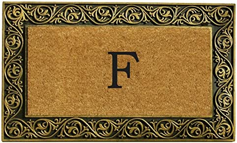 Home More 10001GOLDF Prestige Gold Monogram Doormat Letter F
