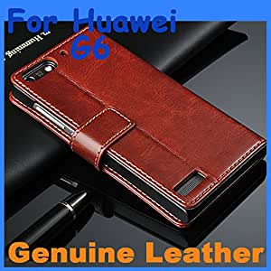 Genuine Leather Case High Quality Huawei G6 Leather Case Flip Cover for Huawei G 6 Case Business Wallet Style Cover --- Color:Black