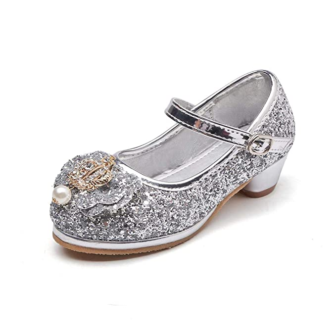 YIBLBOX Girls Glitter Princess Shoes Mary Janes Kids Low Heels Party Wedding Sandals Court Shoes