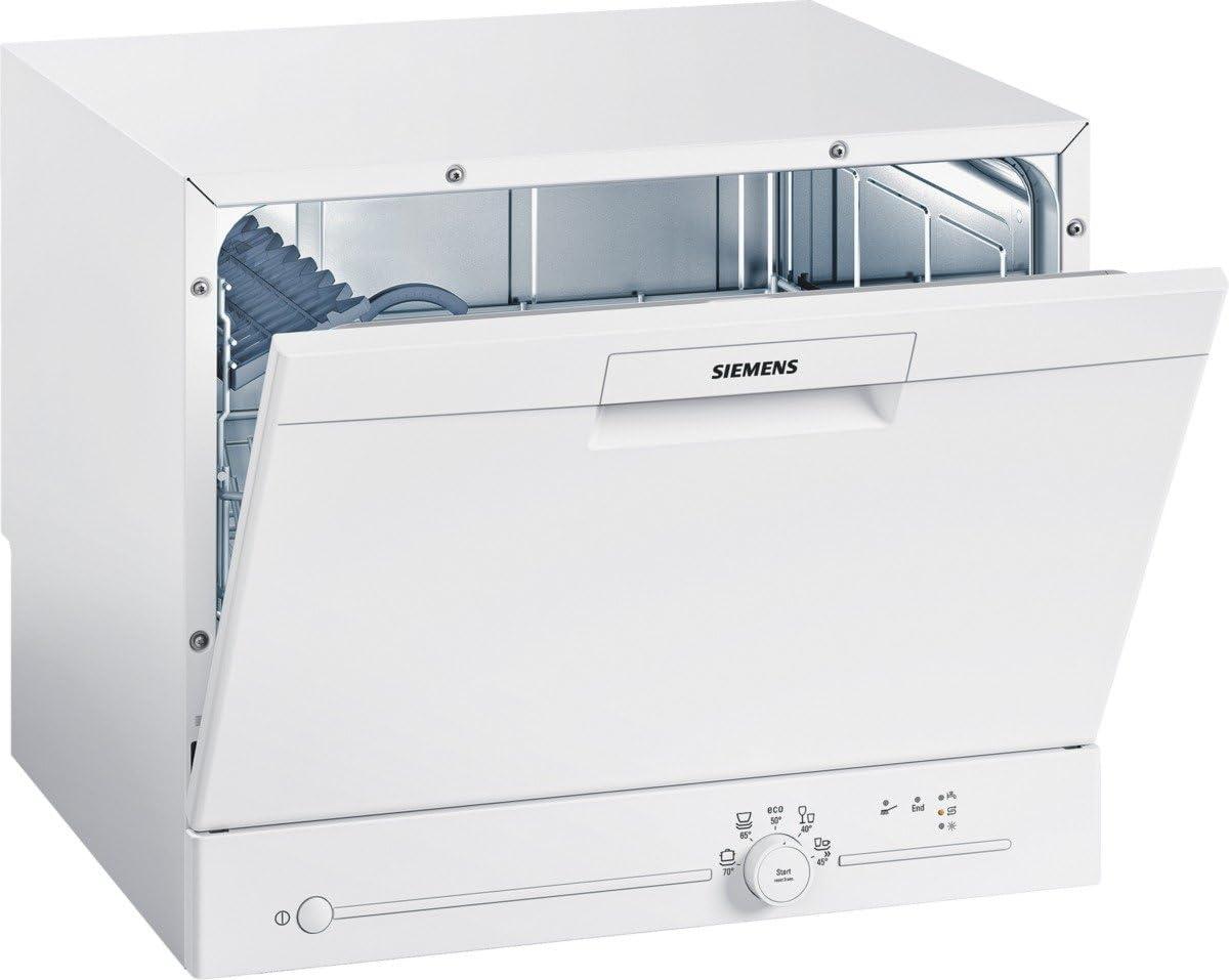 Siemens SK25E203EU iQ100 speedMatic Compact - Lavavajillas (A+, 6 MGD, dosificador de asistente, extremadamente silencioso, motor iQdrive, sensor de carga), color blanco