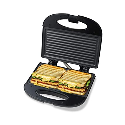 Pheebs Non-Stick Grill Sandwich Maker with Cool Touch Handle and Lid Lock - (Silver and Black,…