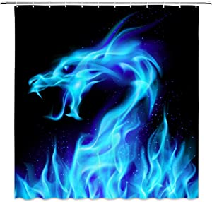 Lileihao Blue Fire Dragon Shower Curtains Beautiful Bathroom Decor Waterproof Polyester Fabric Home Bath Decor Accessories Hanging Shower Curtain Sets Non Peva 69 x 70 Inch with Hooks